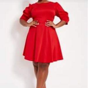 Red short skater dress